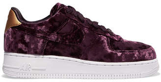 Nike Air Force 1 Metallic Faux Leather-trimmed Crushed-velvet Sneakers - Purple