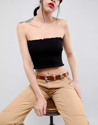 Asos DESIGN Leather Western Tip Waist And Hip Belt