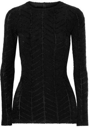 Gareth Pugh Appliquéd Stretch-jersey And Twill Top - Black