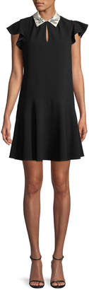 Rebecca Taylor Sleeveless Bird-Embellished Collar Crepe A-Line Mini Dress