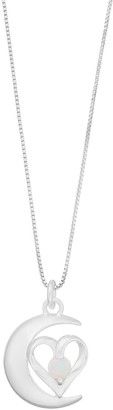 """Timeless Sterling Silver """"Moon & Back"""" Pendant Necklace"""
