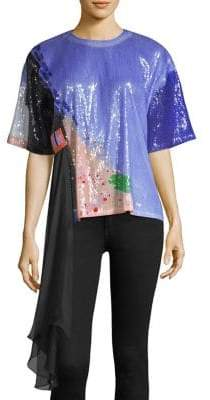 Roberta Einer Flower Bed Sequin Tee
