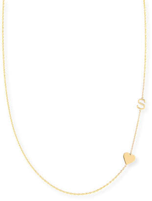 Maya Brenner Designs Personalized Mini One-Letter & Heart Pendant Necklace
