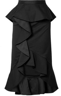 Alice + Olivia Alice Olivia - Alessandra Ruffled Cotton-blend And Satin Midi Skirt - Black