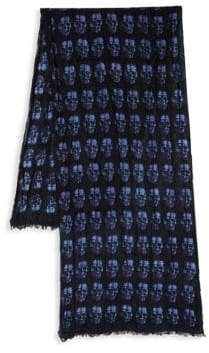 John Varvatos Skull Merino Wool Scarf