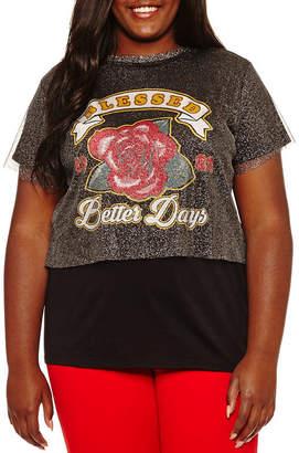 Arizona Mesh Layered Graphic T-Shirt- Juniors Plus