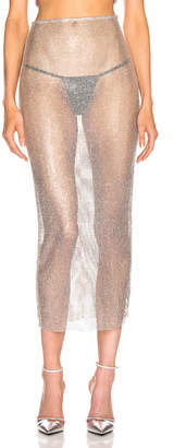 Alessandra Rich Crystal Net Midi Skirt in Nude & Crystal | FWRD