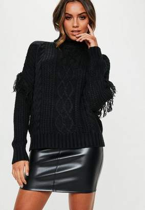 Missguided Black Turtle Neck Cable Fringe Sweater