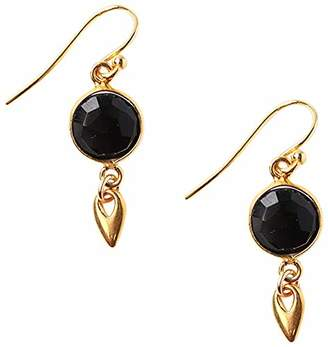 Chan Luu Women's Gold Plated Petite Round Onyx Coin Drop Earrings
