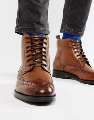 Ted Baker Twrens brogue boots in tan leather