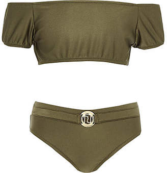 River Island Girls khaki puff sleeve bardot tankini set
