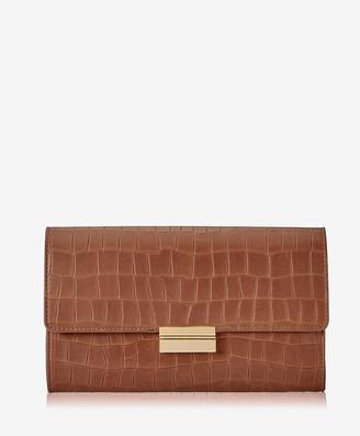 GiGi New York Melrose Clutch, Brown Embossed Nappa Croco Leather