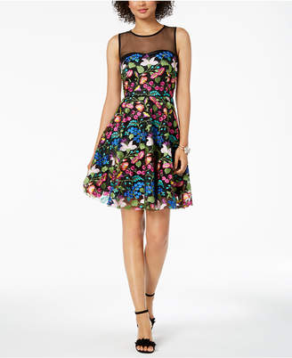 Tahari ASL Floral Embroidered-Mesh Illusion Fit & Flare Dress
