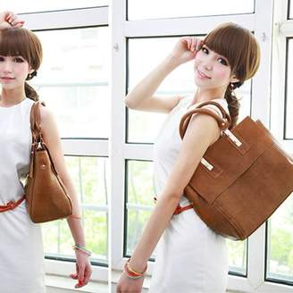Sunrain Fashion Classic Woman Satchel Messenger Bag Handbag Shoulder Bag Tote Brown