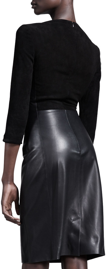 The Row Heavy Suede-Leather Combo Dress