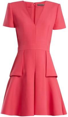 Alexander McQueen V-neck peplum-waist wool and silk-blend dress