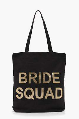boohoo NEW Womens Bride Squad Shopper Bag in Black size One Size