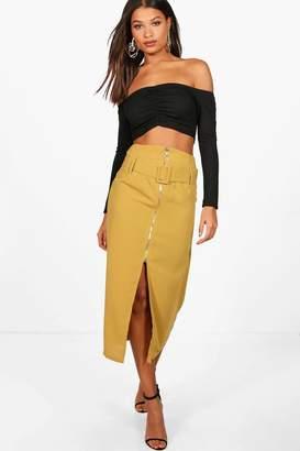 boohoo Buckle Front Split Zip Detail Midi Skirt