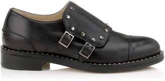 Jimmy Choo BERRY 30 Black Shiny Leather Brogues with Studs Trim