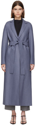 Harris Wharf London Blue Pressed Wool Belted Coat