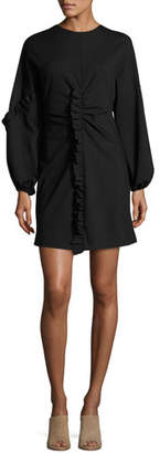 Tibi Bond Ruffled Knit Mini Dress, Black
