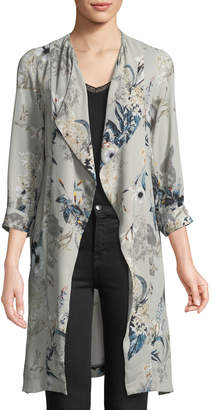 Black Tape Tropical Floral Crepe Duster Cardigan