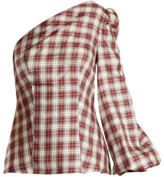 Racil - Dorset Checked One Shoulder Silk Twill Top - Womens - White Multi
