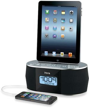 FM iHome® Dual Charging Stereo Radio Alarm Clock w/USB Charge and Play