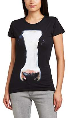 Printed Wardrobe Women's Big Face Animal Cow Crew Neck Short Sleeve T-Shirt,(Manufacturer Size:Small)