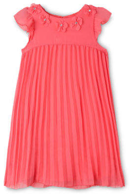 Chloé NEW Origami Woven Pleated Dress (3-8 Years) Coral