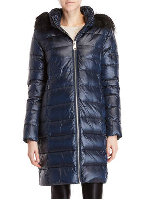 DKNY Faux Fur Trim Hooded Longline Coat