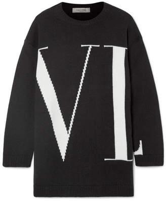 Valentino Oversized Intarsia Cashmere Sweater - Black