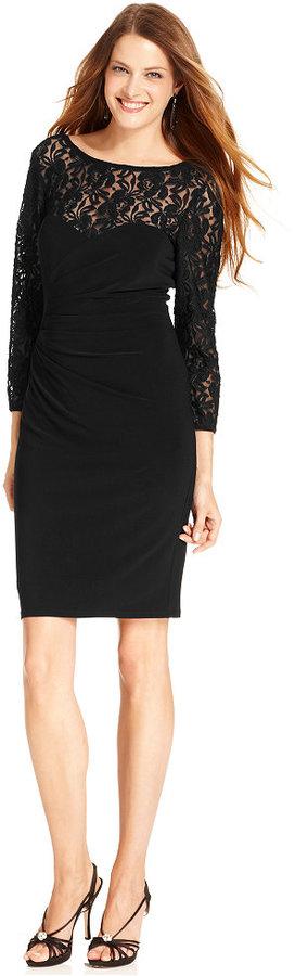 Evan Picone Dress, Three-Quarter-Sleeve Lace Cocktail Dress