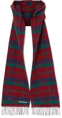 Balenciaga Fringed Tartan Wool Hooded Scarf - Burgundy