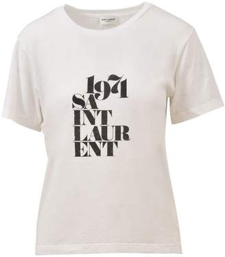 Saint Laurent 1971 Print White T-shirt