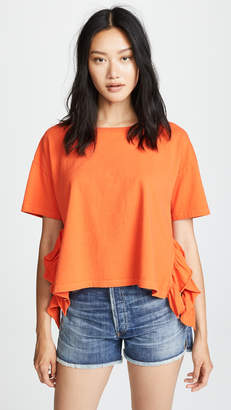 Current/Elliott The Side Slit Ruffle Tee