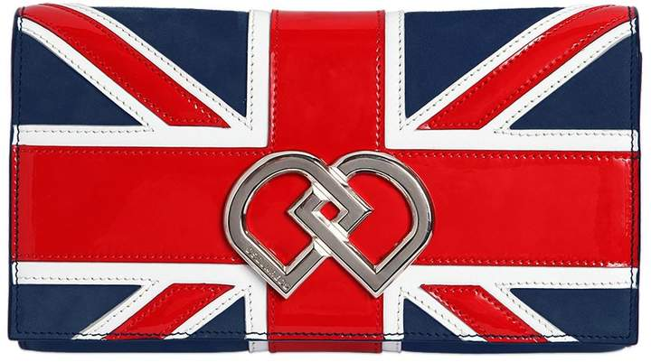 Dsquared2 DD BRITISH FLAG SUEDE CLUTCH rOP5cM