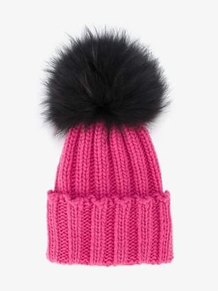 Inverni Pink Ribbed Cashmere Hat with Fur Pom Pom