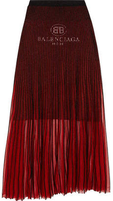 Balenciaga Pleated Knitted Skirt - Red