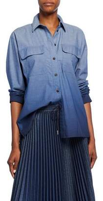 Lafayette 148 New York Nicolina Chambray Ombre Button-Down Blouse