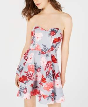 B. Darlin Juniors' Floral Strapless Fit & Flare Dress