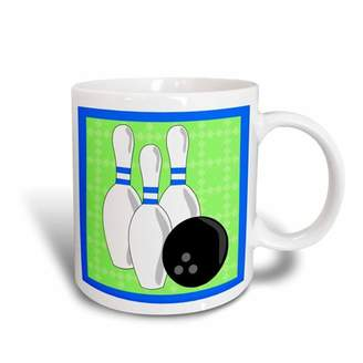 3dRose Green and Blue - Bowling Pins and Ball, Ceramic Mug, 11-ounce