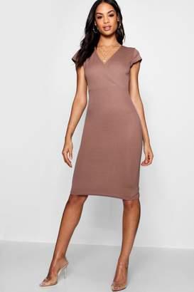 boohoo Wrap Neckline Short Sleeve Midi Dress