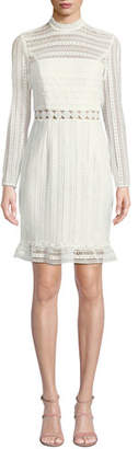 Bardot Vivian Splice High-Neck Lace Dress