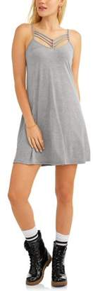 POOF-Slinky Juniors' Spaghetti Strap Cami Dress with Front Strap Detail