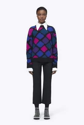 Marc Jacobs Cashmere-Mohair Harlequin Diamond Mockneck Sweater