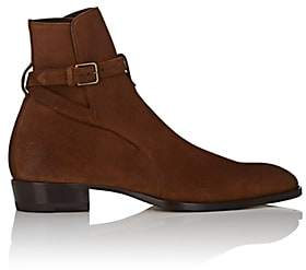 Saint Laurent Men's Wyatt Oiled Suede Jodhpur Boots - Brown