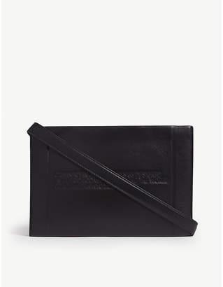 Calvin Klein Ladies Black Embossed Logo-Embossed Leather Cross-Body Bag
