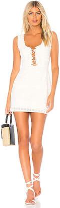 For Love & Lemons Charlotte Eyelet Lace Up Mini Dress