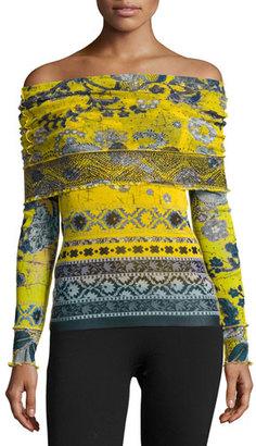 Fuzzi Off-the-Shoulder Batik Tulle Top, Yellow/Blue $395 thestylecure.com